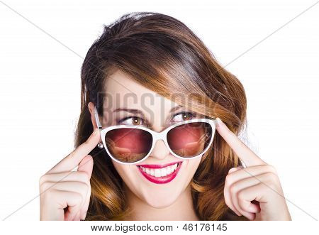 Happy Woman In Fashionable Eyewear
