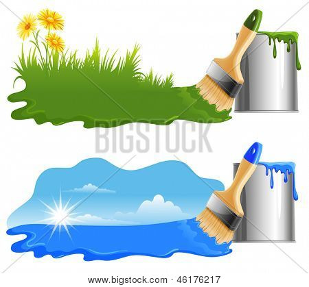 Drawing a green grass and blue sky by paint on a white background. Ecology Concept.