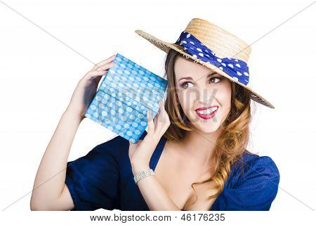 Pin Up Woman With Blue Polkadot Gift
