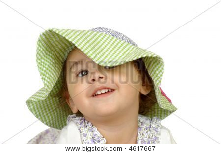 Girl With Checkered Hat, Two Years Old