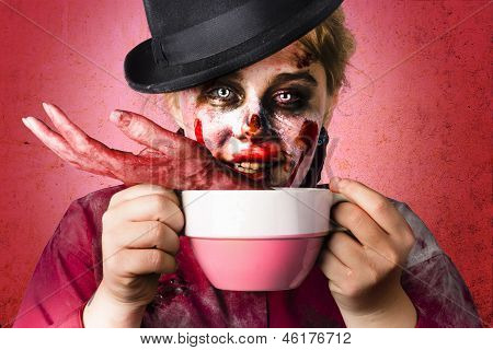 Scary Female Zombie Drinking Handmade Soup