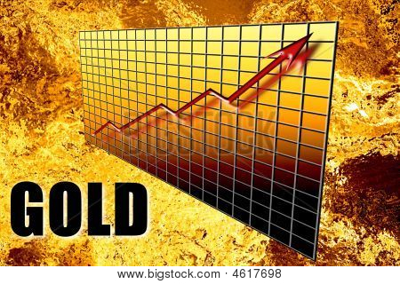 Seta do gráfico de riqueza de ouro