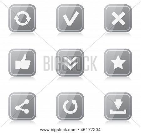 Conjunto de iconos de internet cuadrado redondeado con reflexión