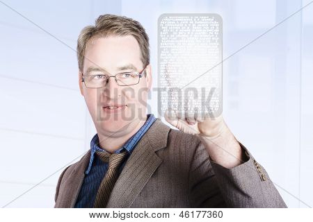 Business Man Scrolling News On Digital Touch Pad