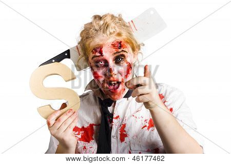 Undead Woman With S Sign
