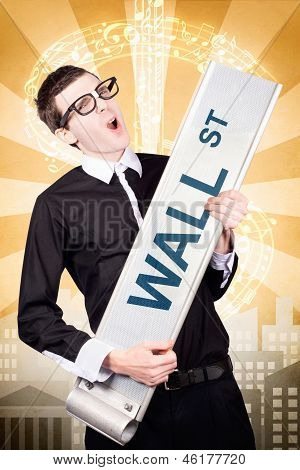 Finance Man Rocking Wall Street Stock Market