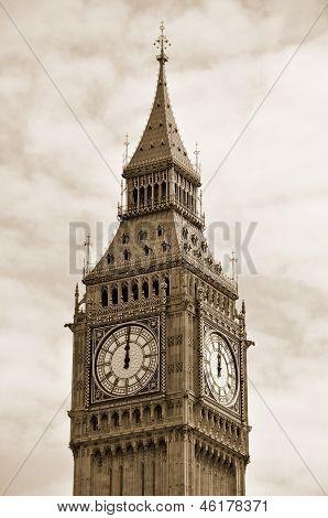 12 o'clock on Big Ben in Sepia, London England UK