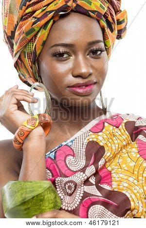 Young beautiful african fashion model on white background.