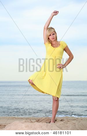 Romantic Beautiful Smiling Girl Yellow Dress
