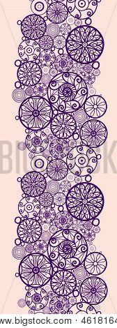 Abstract ornamental circles vertical seamless pattern border