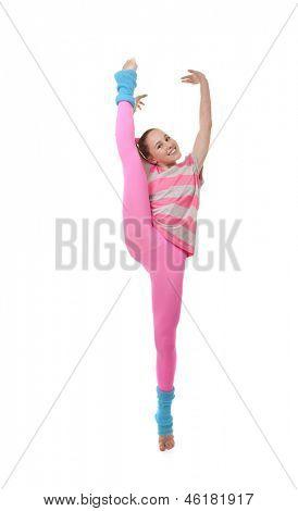 kid girl or child doing exercise