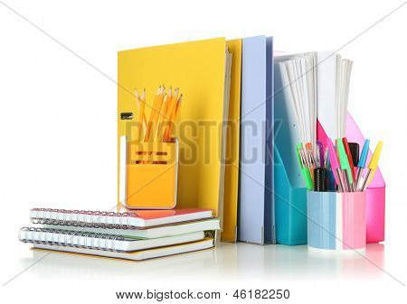 Bright office folders and different stationery isolated on white