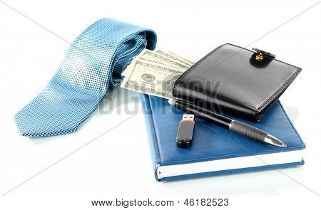 Set of business accessories isolated on white