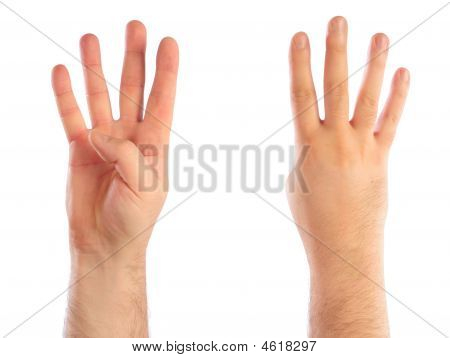 Male Hands Counting Number Four