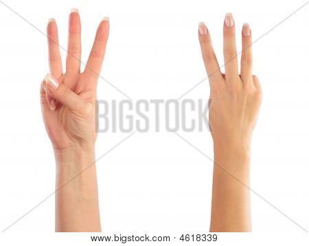 Female Hands Counting Number Three