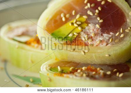 Amazing closeup of a cucumber roll