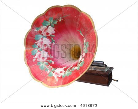 Ornate Painted Antique Cylinder Phonograph