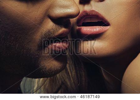 Beautiful portrait of young man lips