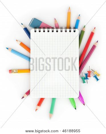 Color Pencils And Notepad. School Concept