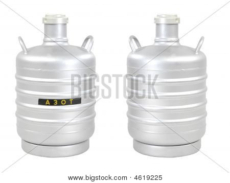 Container Liquid Nitrogen, Isolated On White