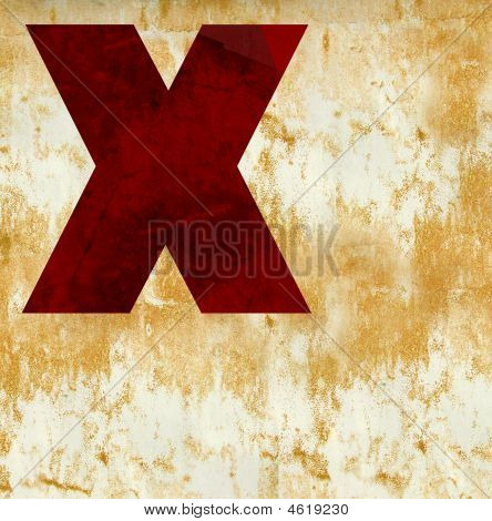 Red Grunge X Or Cross On Dirty Stained Background