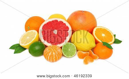 Pile From Different Citrus Fruits On White Background