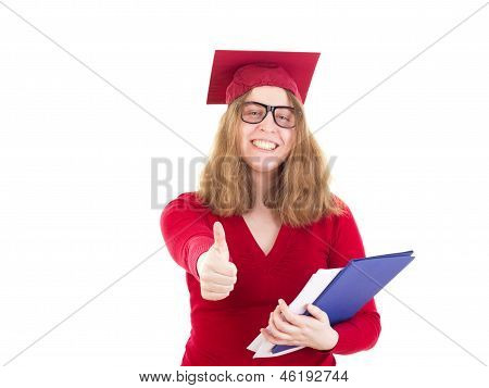 Female Graduate Very Happy About Her Choice Of Major