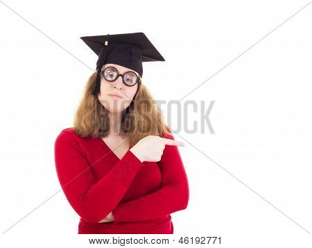 Female Graduate Pointing To Something