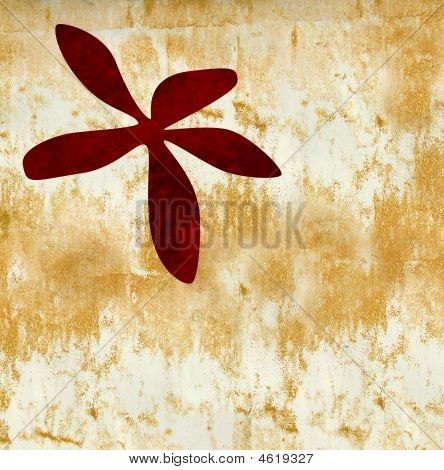 Red Flower On Gold Grunge Textrued Bakground