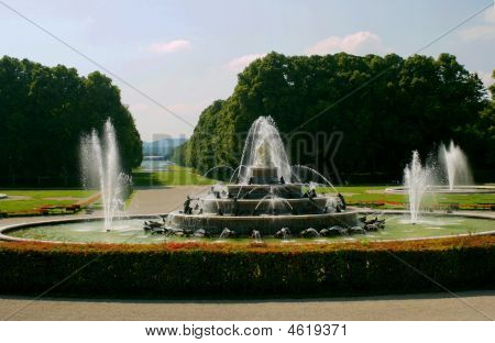 Fountain In Park  The Castle Herrenchiemsee