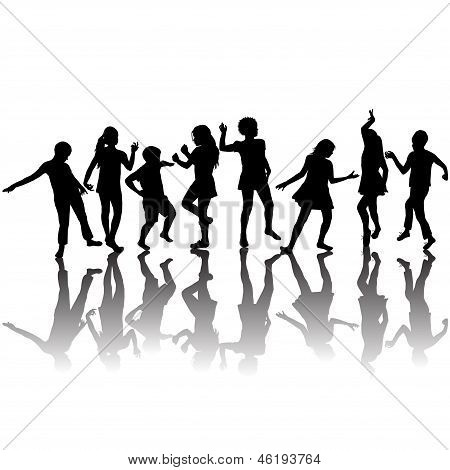 Group Of Children Silhouettes Dancing