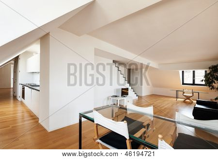 Interior, beautiful loft, hardwood floor, dining table