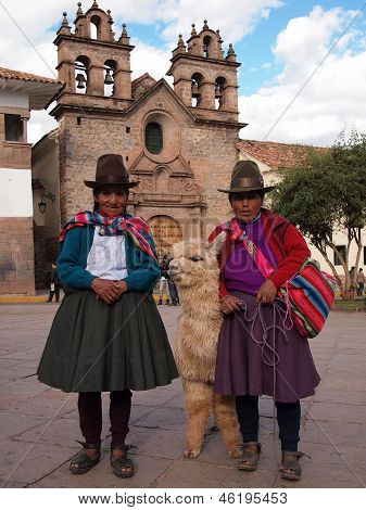 Women With Alpaca In Peru