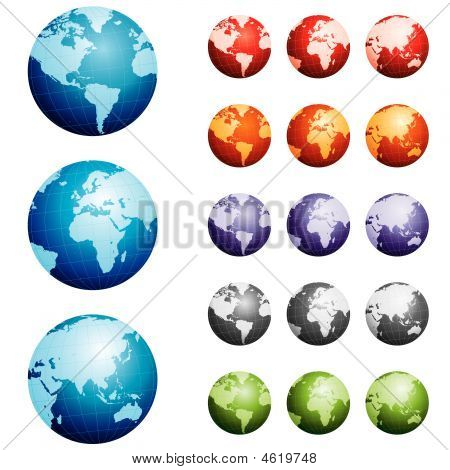 Highly Detailed Hand Drawn Globes