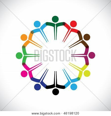 Concept Vector Graphic- People Or Kids Icons With Hands Together
