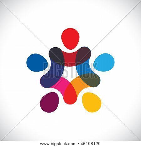Concepto de la unidad de la comunidad, solidaridad & amistad - Vector gráfico