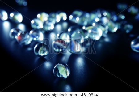 Glass Marbles With Blue Reflections
