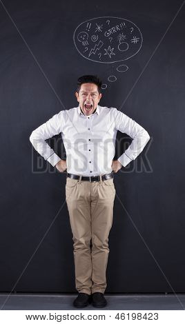 Furious man next to a chalkboard showing his emotions