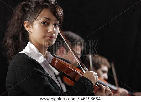 Portrait Of Young Woman Violinist