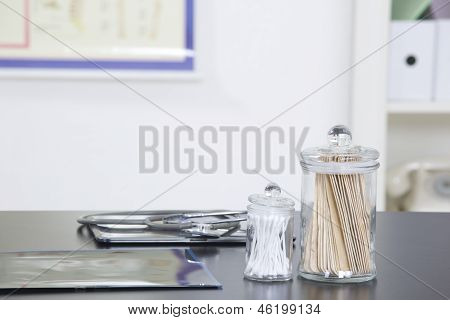 Doctor's Office Desk With Medical Supplies Documents Stethoscope