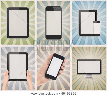 Modern Devices On Retro Background Set