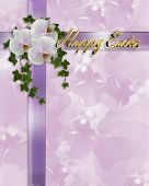 picture of happy easter  - Image and illustration composition of crossed lavender ribbons white orchids ivy design element for invitation Easter background border or frame with 3D gold text - JPG