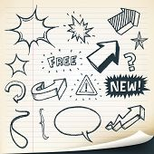 stock photo of outline  - Illustration of a group of outlined hand drawn sketched elements arrows signs speech bubbles stars and retail text or messages - JPG