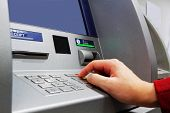 stock photo of automatic teller machine  - Press ATM EPP keyboard - JPG