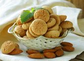 stock photo of biscuits  - sweet almond cookies biscuits  - JPG