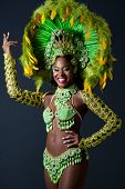 picture of samba  - Woman from Brazil wearing samba dancer costume - JPG