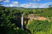stock photo of chamarel  - Scenic Chamarel falls in junle of Mauritius island - JPG