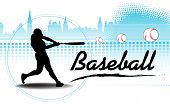 stock photo of softball  - Abstract colorful background with black baseball player silhouette training and hitting some balls far away - JPG