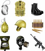 stock photo of grenades  - army and military icons detailed vector set - JPG