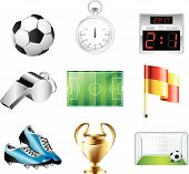 stock photo of offside  - glossy soccer and football icons detailed vector set - JPG